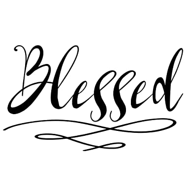 Blessed Wall Sticker   Home Decor Wall Decal   Large (21 x 13 inches) Inspirational Wall Quote Letters   Vinyl Wall Decals for Home or Office Decoration   Great for Living Room or Kitchen (Black)