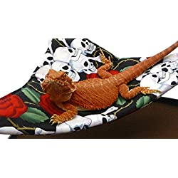 Mini-Hammock for Bearded Dragons, Skulls and Roses Fabric with Suction Cup Hooks