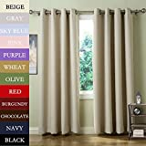 COFTY Beige 52Wx84L Inch (set of 2 panels) Solid Thermal Insulated Blackout Curtain Panel Drape – Antique Bronze Grommet For Sale