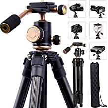 DSLR Travel Tripod, Portable Lightweight Camera SLR Ball Tripods with 1/4 Plate,Bubble Fluid Level,Handle and Bag travel 360 degree pan tripod For Canon Nikon Sony