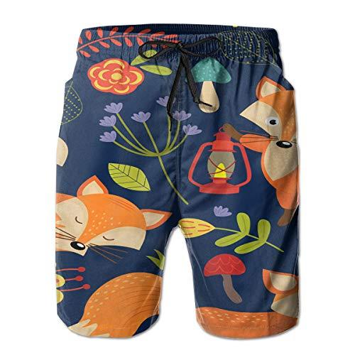 Fox Print On Purple Men's Beach Shorts Swim Trunks Dry Fit Board Trunks with Lining