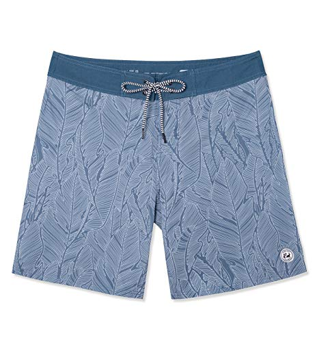 SURF CUZ Men's Vintage Cruzer Stretch Boardshort Chino Shorts (Leaf - Blue, -