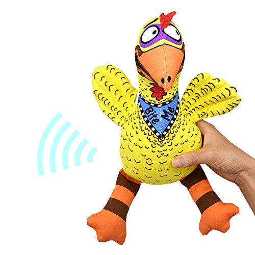chic Bite Toys for Dogs Cartoon Puppet Sound Chicken, Yellow
