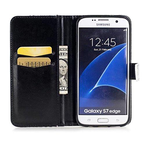 COWX Samsung Galaxy S7 edge Hülle Tasche Handyhalter PU Lederhülle für Samsung Galaxy S7 edge Tasche Brieftasche Schutzhülle Diagonale Blume wsSJIoL