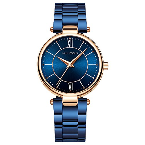 Tayhot Stainless Steel Women Blue Bracelet Watch,Ladies Girls Elegant Quartz Analog Simple Waterproof Dress Watch with Blue Dial