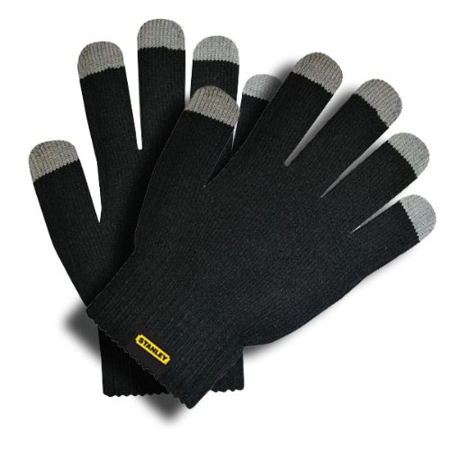 Stanley S39900 Men's Go Touch String Knit Glove with Touchscreen-Capable Fingertips, Black (Halloween Black Fingertips)