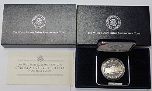 1992 W Commemorative White House 200th Anniversary $1 OGP US Mint (1992 White House 200th Anniversary Proof Silver Dollar)