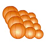 Quasimoon EVP-OR-CP12 12pcs Pack (12/10/8 Inch) Paper Lanterns Even Ribbing, Orange, 12 Piece Set