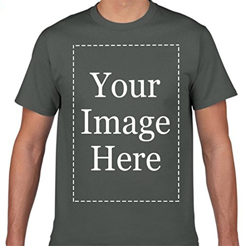 Custom Tee Shirts Men Personalized Text Name Image Message T-Shirt Asphalt ()