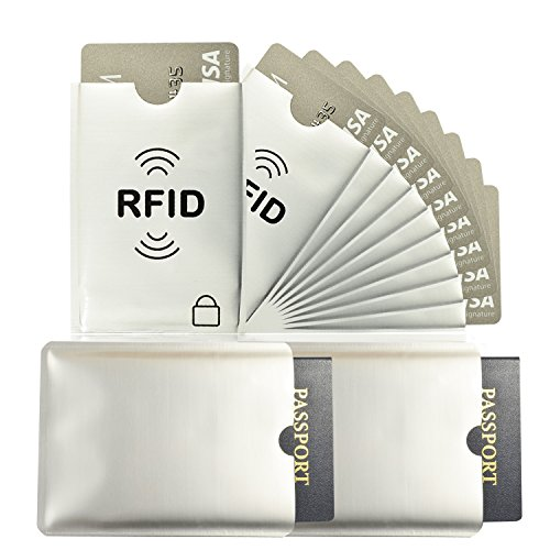 Bofit Anti-Theft RFID NFC Blocking ID Credit Card Passport Holder Secure Protector Sleeves Shields (10 Credit Card & 2 Passport Protectors) Durable TearProof WaterProof (Ten Best Credit Cards)
