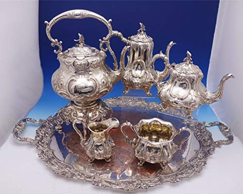 Henry Finial - Henry Wilkinson Sterling Silver Tea Set 5pc w/Crest Bird Finial SP Tray (#3080)