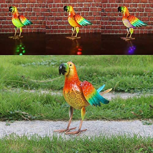 W-DIAN Solar Animal Metal Parrot Lights Outdoor LED Garden Light for Patio, Path, Lawn Yard Decor RGB Seven Color Transformation [並行輸入品] B07R9Q8LCL