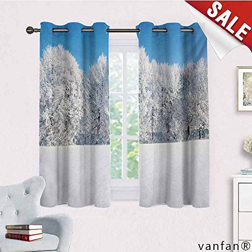 Big datastore 100% Blackout and Energy Saving,Winter,Frosted Trees in The Forest with Snowy Fields Cool Looking Seasonal Photography,for Bedroom/Living Room/Sliding Door/Patio Doorblue White,W72 Xl63