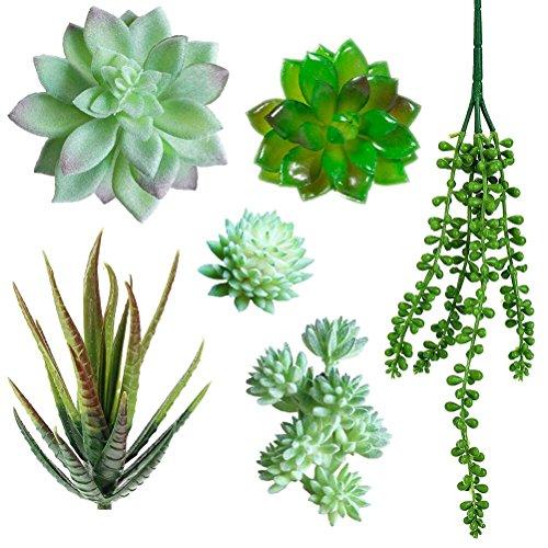 Acerich 6 Pcs Fake Succulents Unpotted Faux Succulent Plants Artificial Cactus in Different Green for Home Garden Decoration