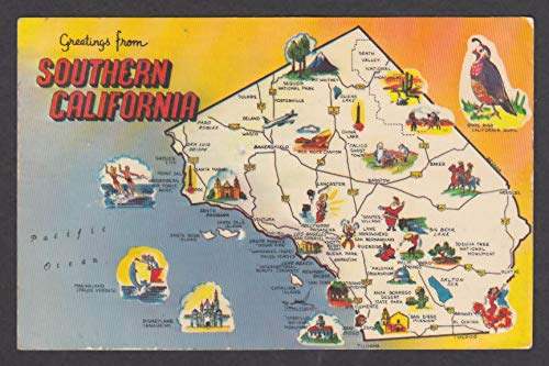 Greetings from Southern California County Map postcard 1971