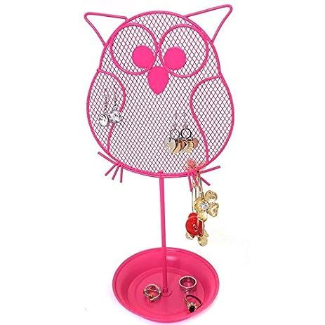 Amazoncom Cute Owl Jewelry Organizer Pink Earring Jewelry Stand