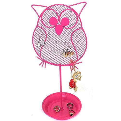 Cute Owl Jewelry Organizer – Pink Earring Jewelry Stand – Dresser Top Jewelry Organizer for Teens – Earring Holder
