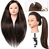 SILKY Hair Mannequin Head with 60% Human Hair, 28' Long Cosmetology Practice Training Head for Hair Styling, Doll Head with Hair for Braid Practice - Dark Brown