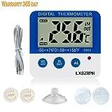 LXSZRPH LCD Digital Aquarium Thermometer Velcro Fish Tank Water Thermometer Aquarium Thermometer LED Alarm Indicator Highest/Lowest Temperature Alarm (C601AquariumThermometer)