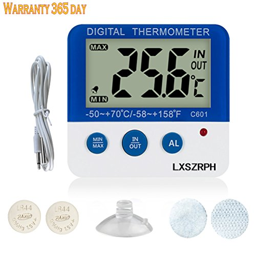 LXSZRPH LCD Digital Aquarium Thermometer with Velcro Fish Tank Water Thermometer Aquarium thermometer with LED Alarm Indicator Highest/Lowest Temperature Alarm (C601AquariumThermometer) by LXSZRPH