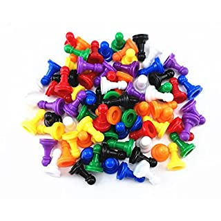 HONBAY 80pcs Multi-Color Plastic Pawns Pieces for Board Games, Tabletop Markers Component
