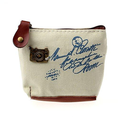 Clearance Vintage Women Money Bag Small Canvas Coin Purse Zipper Change Pouch Wallet (10.5X8X3.5cm, Blue) WYTong Coin Purse-01