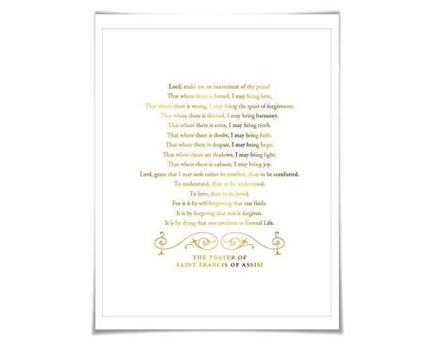 image regarding St Francis Prayer Printable referred to as : St. Francis of Assisi Prayer Gold Foil Artwork Print