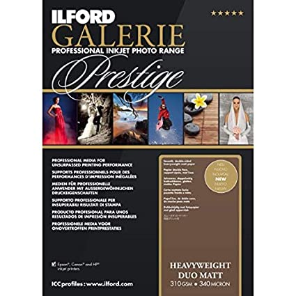 ILFORD Galerie Prestige Heavyweight Duo May - Papel fotográfico doble cara, 310 g, 50 hojas, A3+