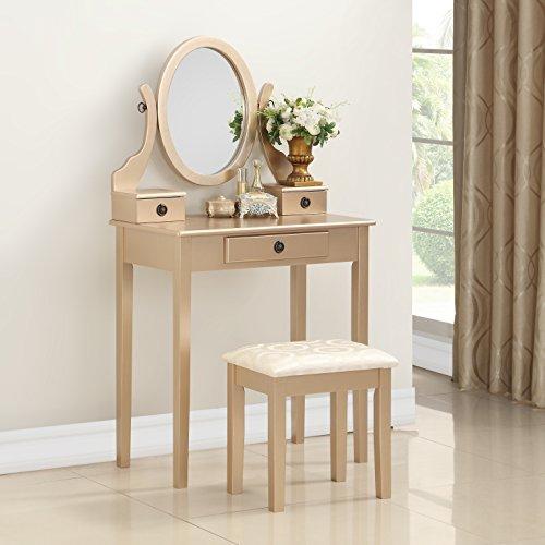 Roundhill Furniture 3415GL Moniys Wood Moniya Makeup Vanity Table and Stool Set, (Gold Vanity Set)