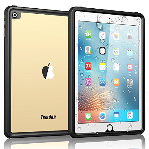 Temdan iPad Pro 9.7 Waterproof Case Rugged Sleek Transparent Cover with Built in Screen Protector Waterproof Case for Apple iPad Air 2/iPad Pro 9.7 inch
