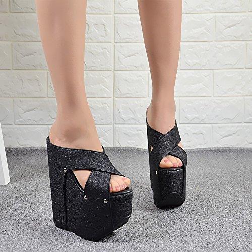 aumentado cm pendiente de XiaoGao espesor 19 y tacon zapatillas alto de de Black inferior Sandalias xw874qa