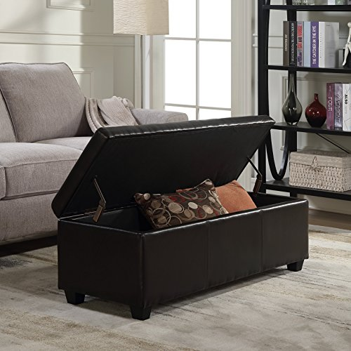 Belleze 48'' Storage Ottoman Luxury Bedroom Upholstered Faux Leather Decor (Brown) by Belleze (Image #1)