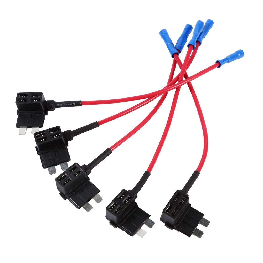 5 PCS 12V Mini portafusibles Car Add-A-Circuit Fuse Tap Adapter Adaptador de cuchilla Tap Fusible Piggy Back Tap Tap Fusible ATM APM Blade Holder Keenso