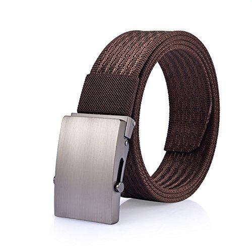 LLZZPPD Cinturón De Lona/Cinturón De Lona Hebilla Lisa De Los Hombres Sin Cinturón De Metal Cinturón Automático De… JcKWZovL0