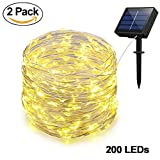#7: Adecorty Solar Powered String Lights, Outdoor String Lights 2 Pack 200 LED 66ft 8 Modes Starry String Lights Indoor/Outdoor Waterproof Solar Decoration Lights for Garden Home Party Bedroom Decor