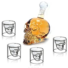 Wine Decanter Set Skull Carafe with Stopper(1000ML)and 4 Pcs 150ML Whiskey Glasses
