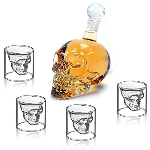Wine Decanter Set Skull Carafe with Stopper(1000ML)and 4 Pcs 150ML Whiskey (Halloween Beer Drinking Games)