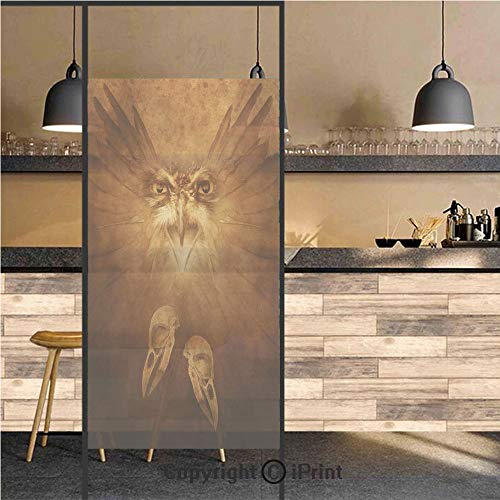 (3D Decorative Privacy Window Films,Hawk Eagle Face and Claws with Feather Wings in Fire like Background Art Print,No-Glue Self Static Cling Glass film for Home Bedroom Bathroom Kitchen Office 24x71 In)