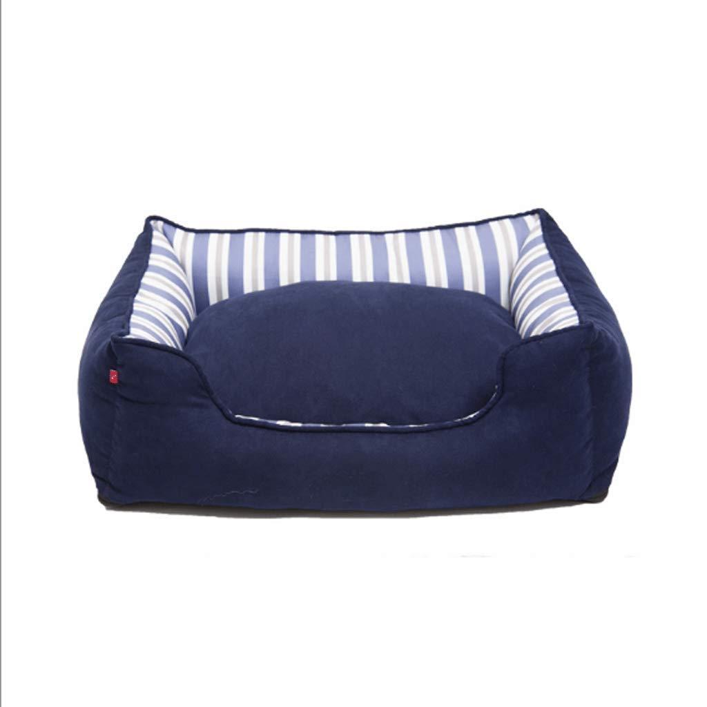 GJ Pet Nest Adatto per Rimovibili Lettiera per Gatti Rifornimenti Animali Domestici Cotone e Lino Stagioni Universal (colore   Blu, Dimensioni   M (65  52  20cm))