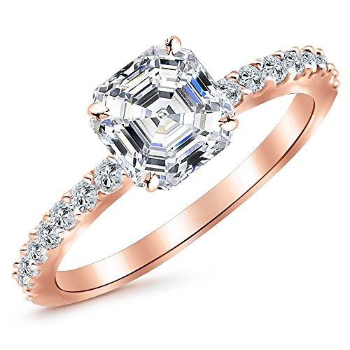 0.85 Ctw 14K Rose Gold Classic Side Stone Asscher Cut Diamond Engagement Ring (0.6 Ct D Color VS1 Clarity Center Stone)