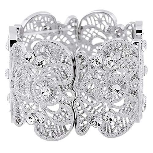 SL SweetLove Womens Bohemian Lace Bracelet Vintage Filigree Cuff Bangle Bracelet Wide Stretch Rhinestone Bracelets for Ladies