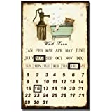 "Adeco Decorative Vintage-Inspired Iron Wall Sign Calendar ""Wash Room"" Off White Brown Home Decor - 15.7x9.8 Inches"