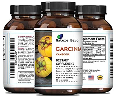 Garcinia Cambogia 95 HCA - Potent Weight Loss Pills For Men And Women - Pure Workout And Focus Enhancer - Potent Appetite Control - Natural Garcinia Cambogia Extract To Burn Belly Fat By Nature Berg