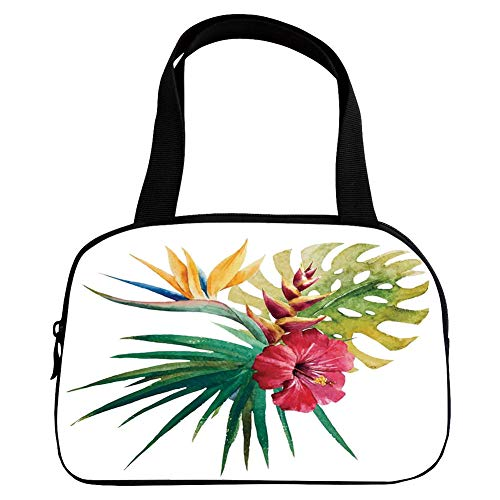 iPrint Vogue Small Handbag Pink,Floral,Wild Tropical Orchid Flower with Large Leaves Exotic Tropic Petals Picture,Fuchsia Forest Green,for Girls,Diversified Design.6.3