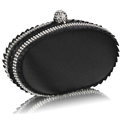 L And S Handbags Satin Clutch Bag With Crystal Decoration - Cartera de mano de Material Sintético para mujer negro