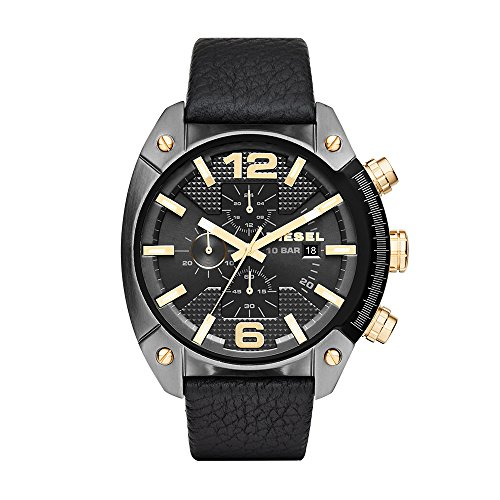 Diesel Men's DZ4375 Overflow Gunmetal Black Leather Watch -  adult