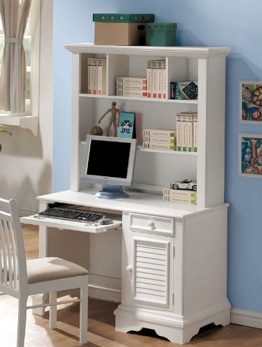 Computer Desk with Hutch Shutter Design in White Finish