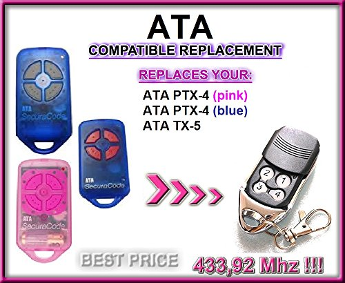 ATA PTX4, ATA TX5 433.92Mhz SecuraCode Garage Gate Replac...