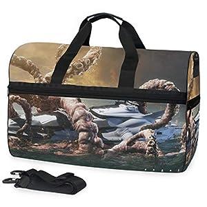 Womens Mens Duffle Bag Creature Dark Fantasy Ocean Large Training Handbag Yoga bag with Shoes Compartment