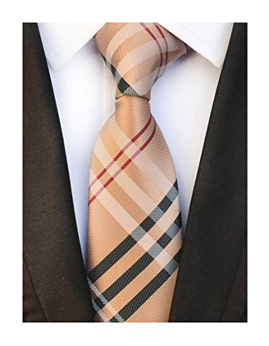 (Men's Brown Red Black Woven Casual Preppy Stylish Tie Necktie Presents Gift Idea)